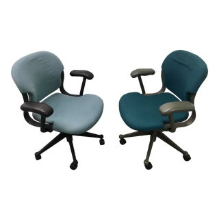Herman Miller Molded Plastic Equas Desk Chairs - a Pair For Sale