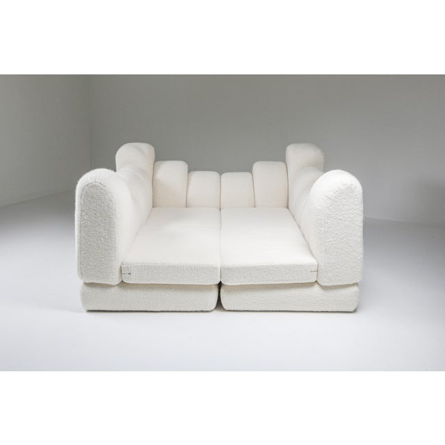 White wool sectional sofa, Hans Hopfer, Roche Bobois, France, circa 1974. Very rare and collectible modular couch...