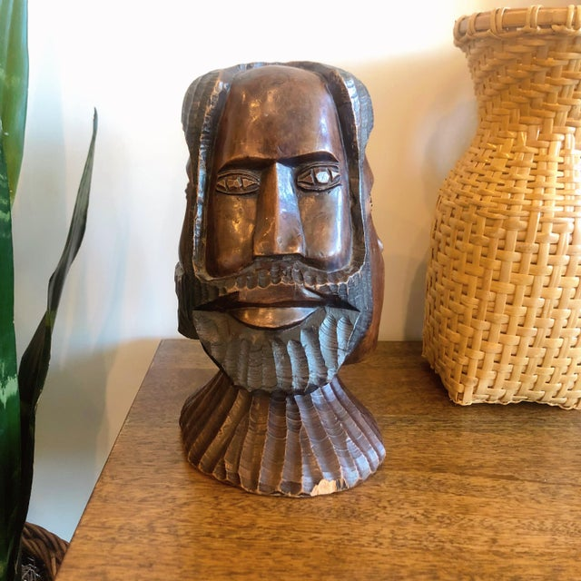 Vintage Carved Wooden Head Sculpture For Sale - Image 9 of 9