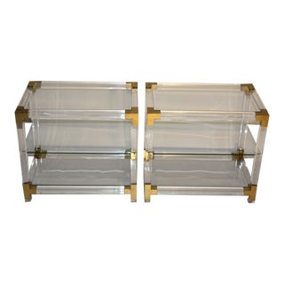 Pair of 3 Tiered Lucite Side Tables For Sale