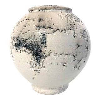 Vintage Modern Horse Hair Raku Pottery Pot Vase For Sale