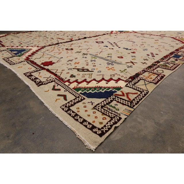 Late 20th Century Vintage Berber Moroccan Flat-Weave Kilim Glaoui Rug - 12'10 X 17'08 For Sale - Image 5 of 9
