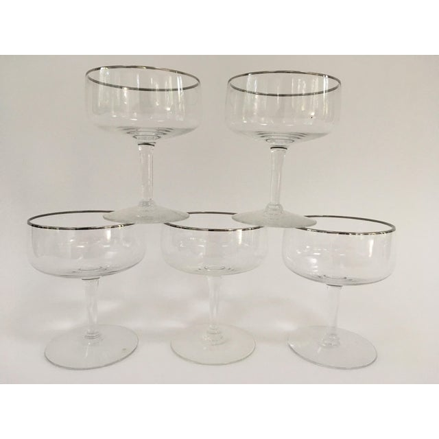 1960s Vintage Silver Rimmed Champagne Coupe's For Sale - Image 5 of 5