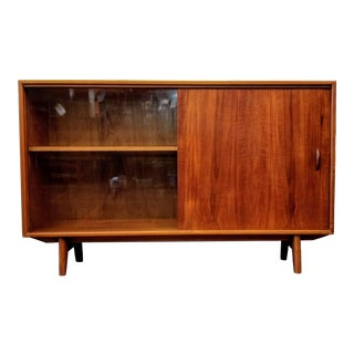 Herbert E. Gibbs Vintage Danish Modern Teak Sliding Door Bookcase For Sale