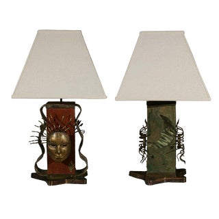 Italian Modernist Brass and Leather Embossed Pedestal Lamps W/ Shades - a Pair For Sale