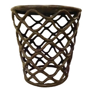 Interlude Home Transitional Bronze Lattice RoundAccent Table For Sale