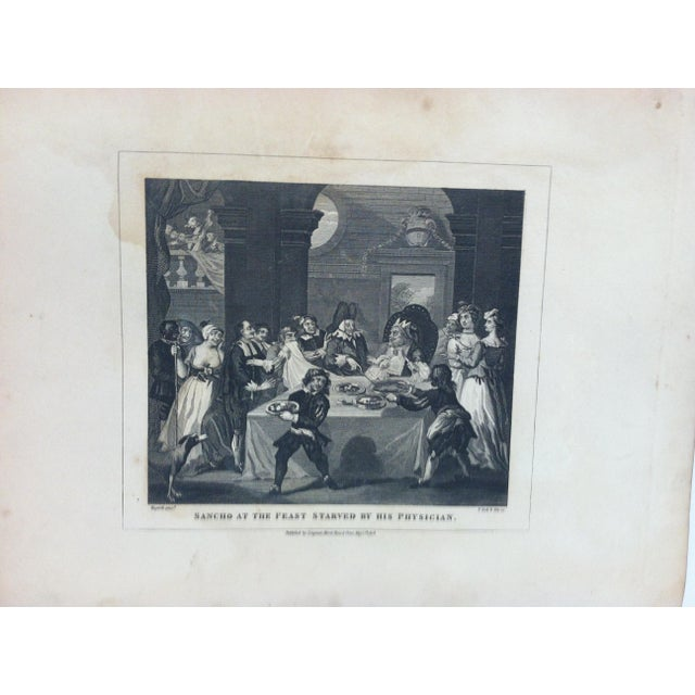 """This is an Antique and Rare Original Engraving that is titled """"Sancho at the Feast Starved by His Physician"""" by John..."""