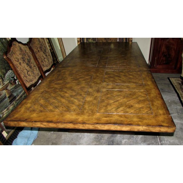 Maitland - Smith Rustic Matiland Smith Trestle-Base Parquet Top Dining Table For Sale - Image 4 of 13