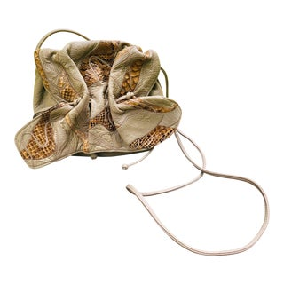 1980s Carlos Falchi Slouch Snakeskin and Leather Cross Body For Sale