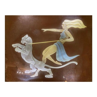 "Art Deco Style ""Woman Walking Panther"" Etched Glass Framed Art Light, 1950s For Sale"