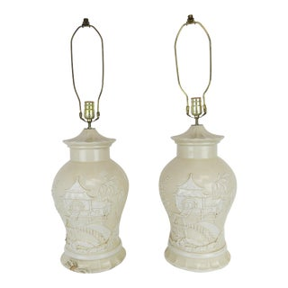 1960s Vintage Italian White Earthenware Ceramic Table Lamps - a Pair For Sale