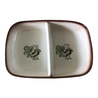 Vintage Brock Pottery Chanticleer Divided Dish