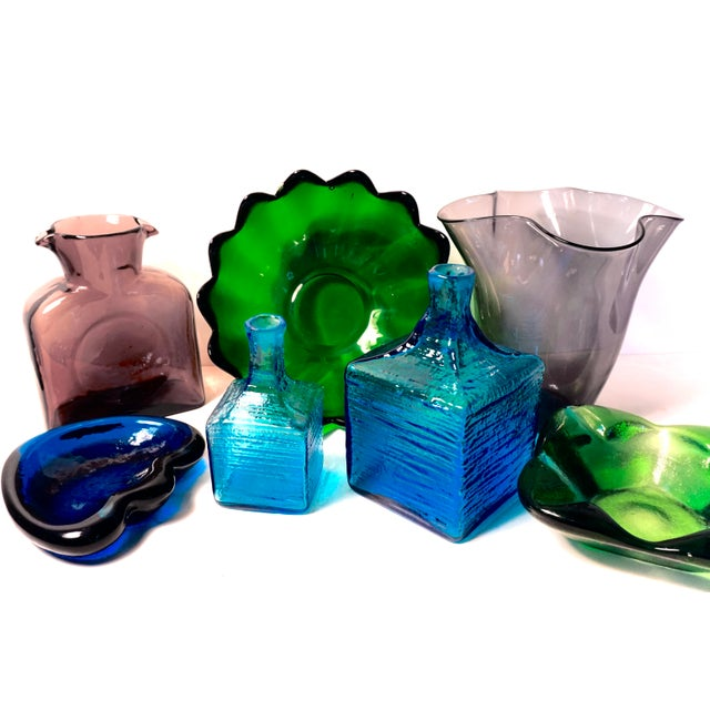 Blenko|• 6224l & 6224s Turquoise Blown Art Glass Decanters / Vases by Wayne Husted For Sale - Image 11 of 13