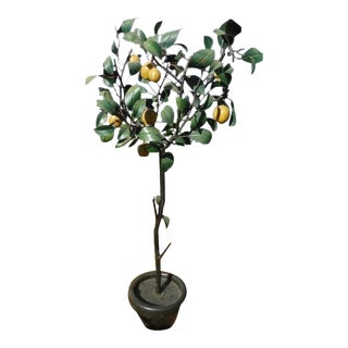 1950s Italian Tole Lemon Tree With Fruits and Leaves