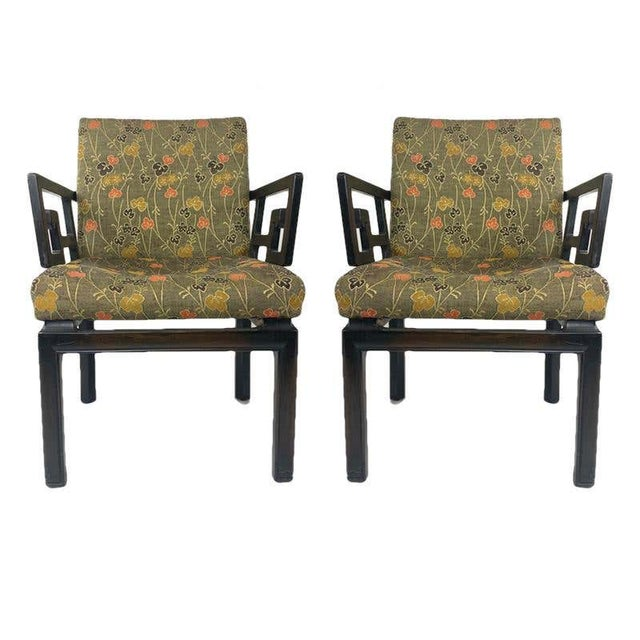 A timeless pair of Greek Key arm/occasional chairs designed by Michael Taylor for the Baker furniture Far East Collection.