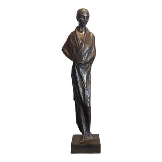 Santiago Rodriguez Bonome - a Woman in a Wrap-Around Garment-1927 Art Deco Bronze For Sale