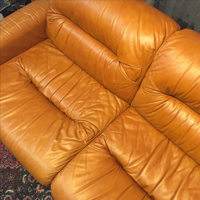 Vintage 1970s Leather and Chrome Sofa - Image 6 of 9