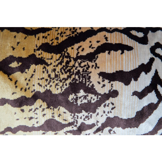 Hollywood Regency Velvet and Silk Large Tiger Lumbar Pillow For Sale - Image 3 of 5