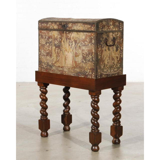Antique Renaissance Needlework Oak and Walnut Trunk Form Secretary Desk on Stand The hinged fall enclosing a fitted...