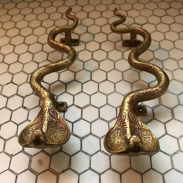Hollywood Regency Gold Brass Cobra Door Handles- a Pair - Image 8 of 11