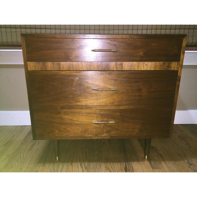 Danish Modern Low Teak Dresser Chest - Image 3 of 8