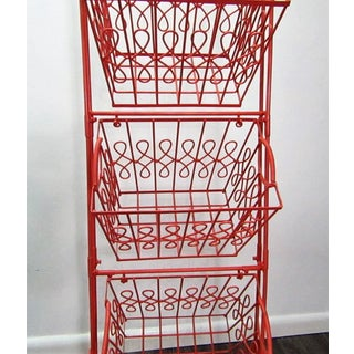 Coral Lacquer Finish Three Tier Hanging Basket Storage Preview