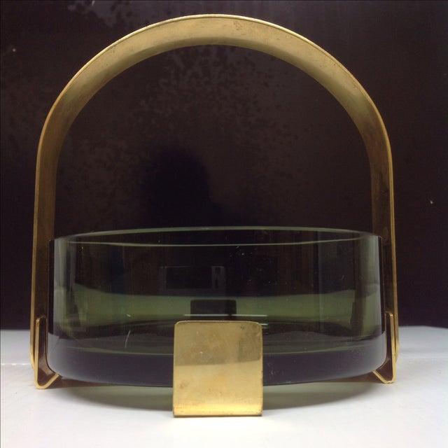 Italian Fontana Arte Glass & Brass Bowl Max Ingrand For Sale - Image 3 of 5