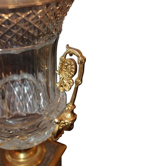 Neoclassical Style Cut Glass Bronze & MalachiteUrns - A Pair - Image 6 of 7