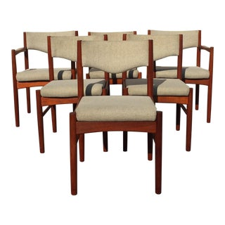 Vintage Mid Century Danish Refinished Teak Dining Chairs- Set of 6 For Sale