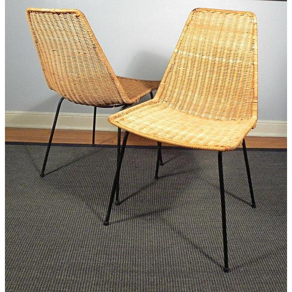 Vintage Mid-Century Modern Wicker Chair With Iron Legs - Pair - Image 3 of 8