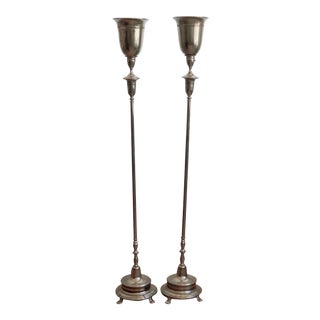 Antique Silver Urn Style Torchiere Lamps Pair For Sale