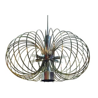 1970s MCM Brass Bird Cage Chandelier by Sciolari With Nickel Accents For Sale