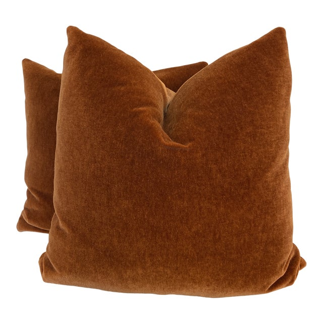 "Mohair Velvet in Spice 22"" Pillows-A Pair For Sale"