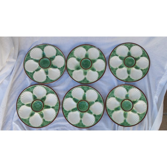 Majolica French Oyster Plates - Set of 6 - Image 2 of 5