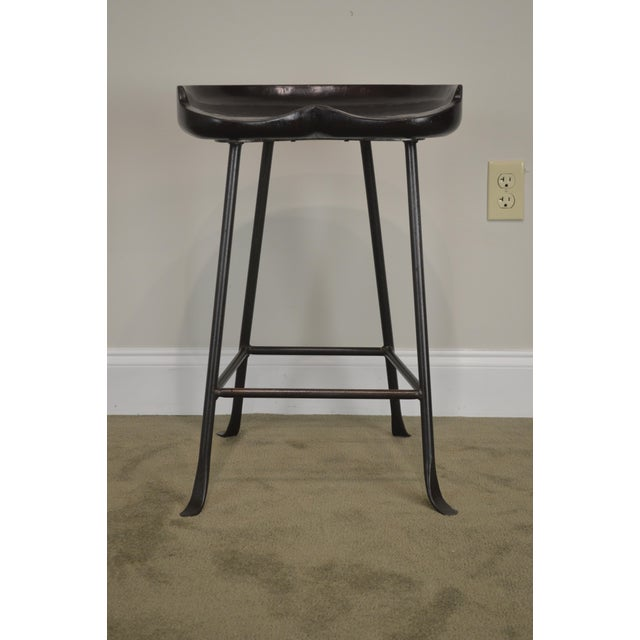 Custom Quality Solid Wood Seat Pair of Iron Backless Bar Stools For Sale - Image 9 of 13
