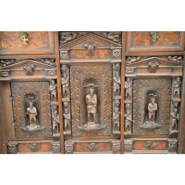 "Cinnamon Antique Heavily Carved Continental Court Two Piece 65"" Cabinet/Cupboard For Sale - Image 8 of 13"