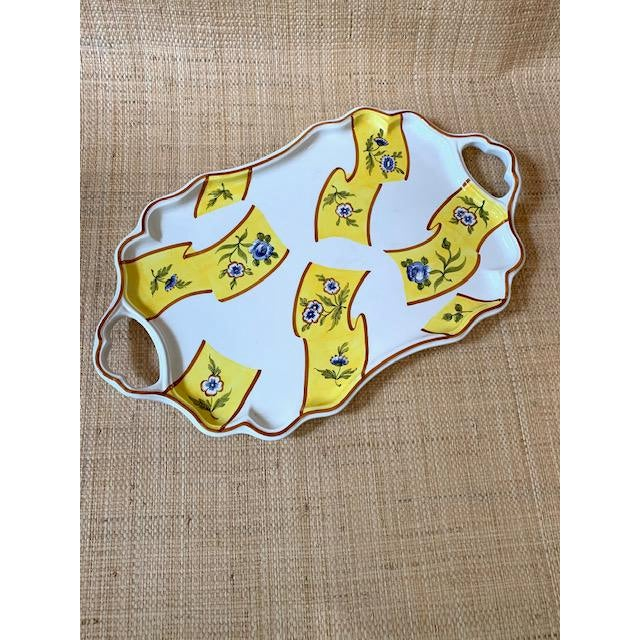 Large Tiffany serving platter. Made in Italy by Este Ceramiche. Yellow ground with blue and white flowers. Use it for...