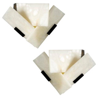 Pierre Chareau Manner Large 'Fly 3' Alabaster Sconces - a Pair For Sale