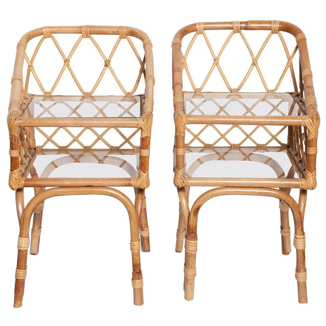 Diminutive Pair of 1950s Italian Bamboo Side Tables or Night Stands For Sale - Image 13 of 13