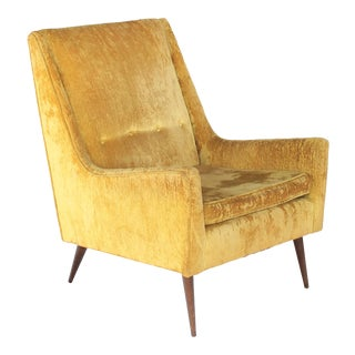 Paul McCobb Style High Back Yellow / Gold Lounge Chair N For Sale