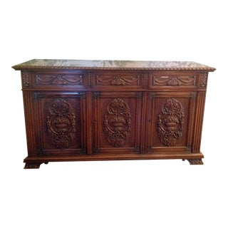 Carved Walnut Dining Room Buffet Jacobean Revival Pattern, Doezema Circa 1935 For Sale