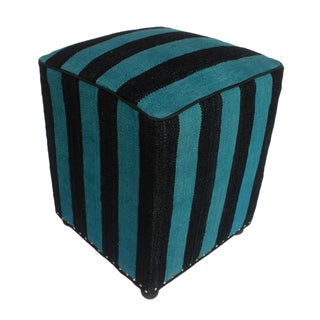 Arshs Delaine Blue/Black Kilim Upholstered Handmade Ottoman For Sale