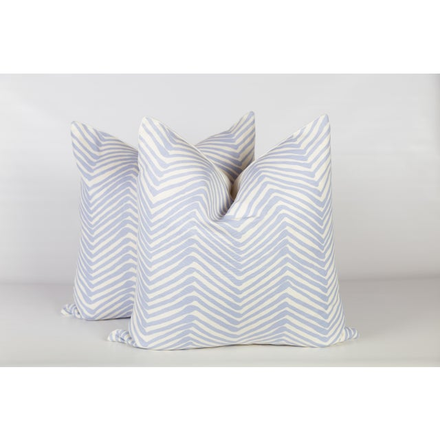 Alan Campbell Periwinkle Zig Zag Pillows - A Pair For Sale - Image 5 of 5