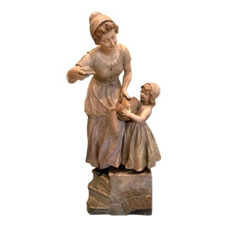 Antique French Terracotta Figurative Sculpture For Sale