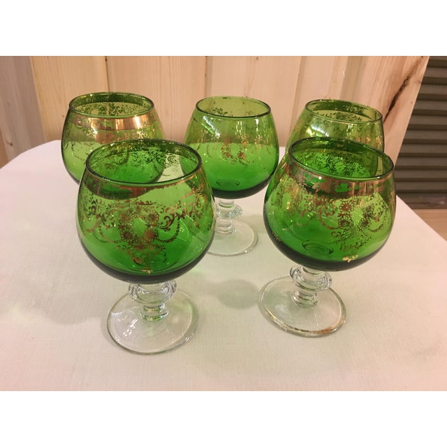 Mid-Century Modern Emerald Green Goblets - Set of 5 For Sale - Image 4 of 10