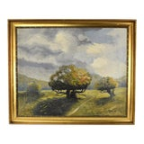 Image of 1933 German Summer Landscape Stylized Trees Oil Painting Signed Wahl For Sale