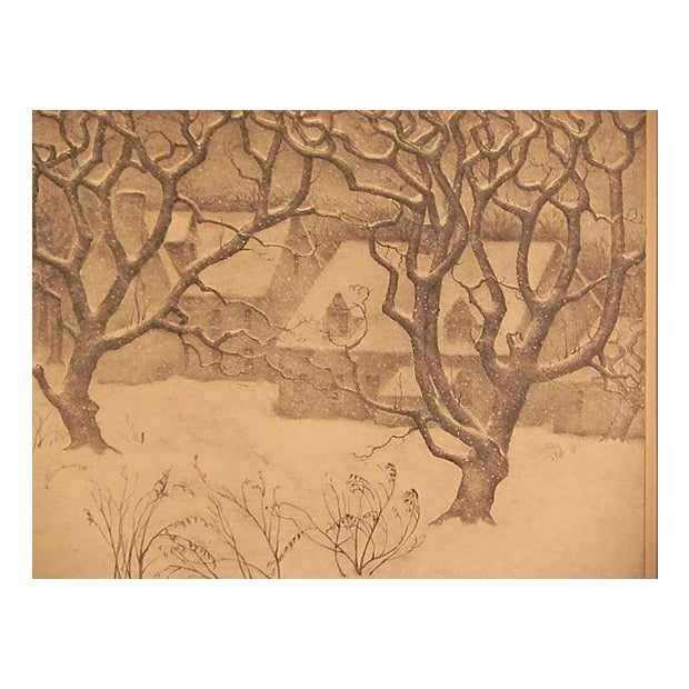 """A dreamy lithograph by American artist Ella Fillmore Lillie (1884-1972) aptly titled """"Gentle December."""" The lithograph is..."""