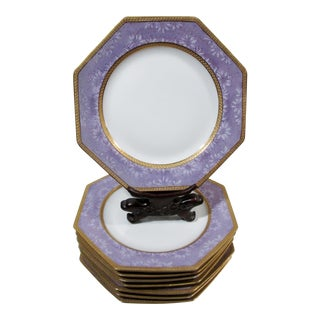 Art Deco Rosenthal China Encrusted Violet Daisies & Gold 8 Octagonal Plates - Set of 8 For Sale