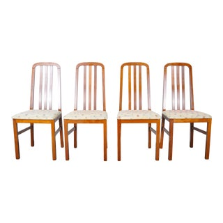 1980s Set of 4 French Splat Back Oak Dining Chairs For Sale