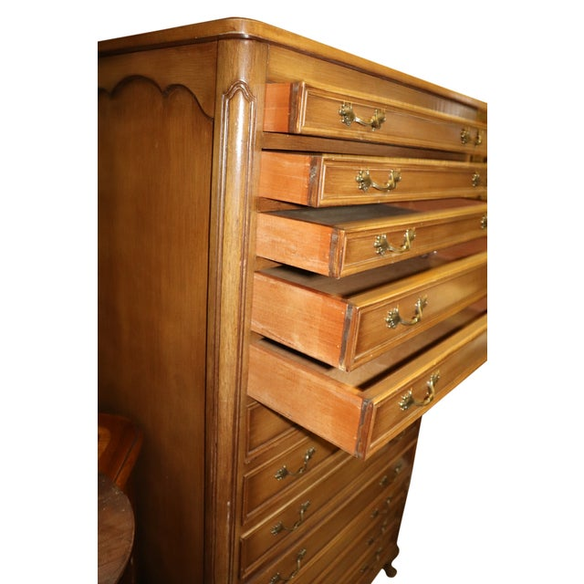 1960s French Provincial Full Size Dresser With Tapering Drawers, Lift Top & Hidden Drawer For Sale - Image 5 of 7